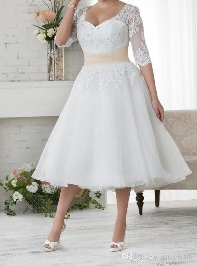 Discount Plus Size Lace Tea Length Wedding Dresses With Half Sleeves Vintage Tulle A Line Bride Dress Cheap 2015 Sale Size 22 Bridal Shop Celebrity Wedding Dres Wedding Dress Organza Wedding
