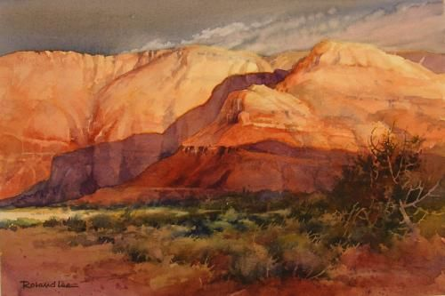 Utah Landscapes Southern Utah Cliffs Watercolor Painting Of