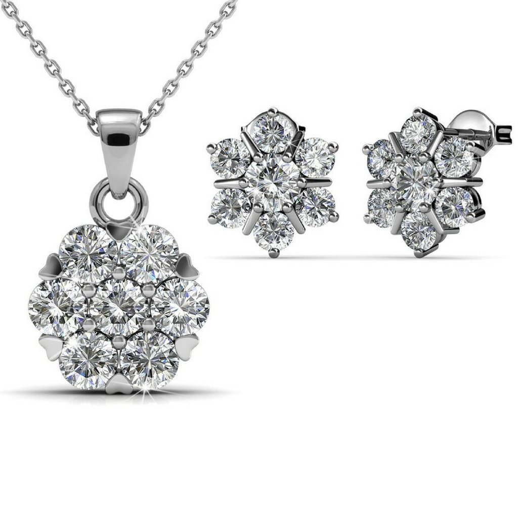 Flower crystal earring and necklace set products