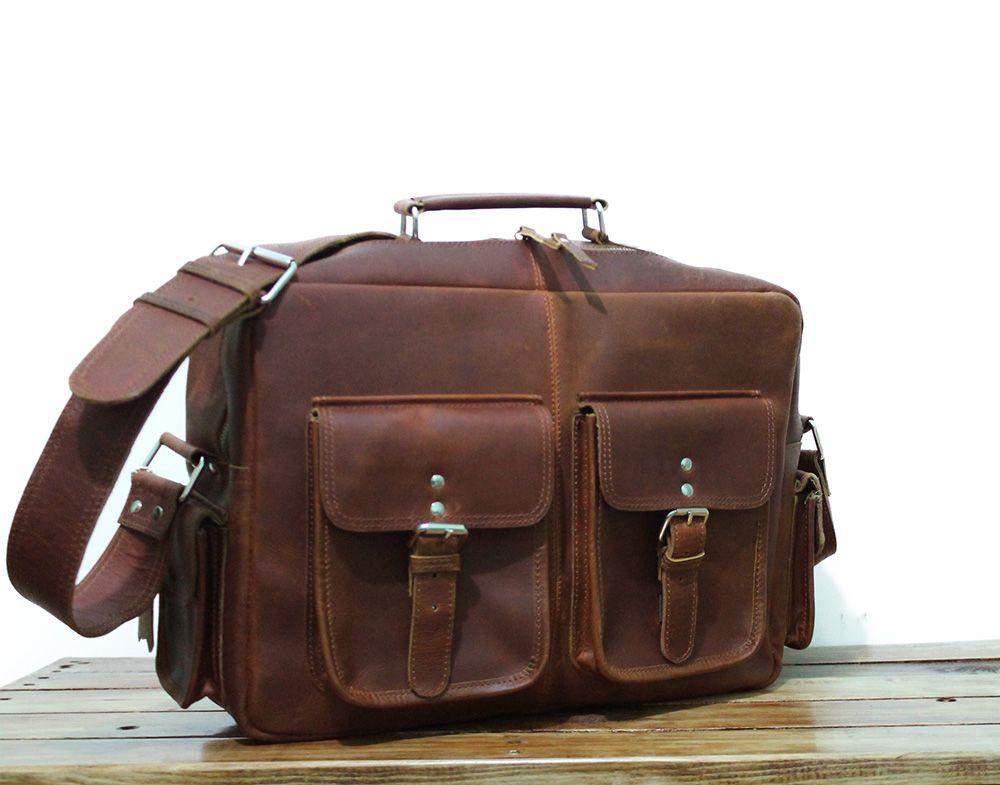 d492a507e3 Men s Leather Messenger Bag Leather Briefcase Women Laptop Bag 16 ...