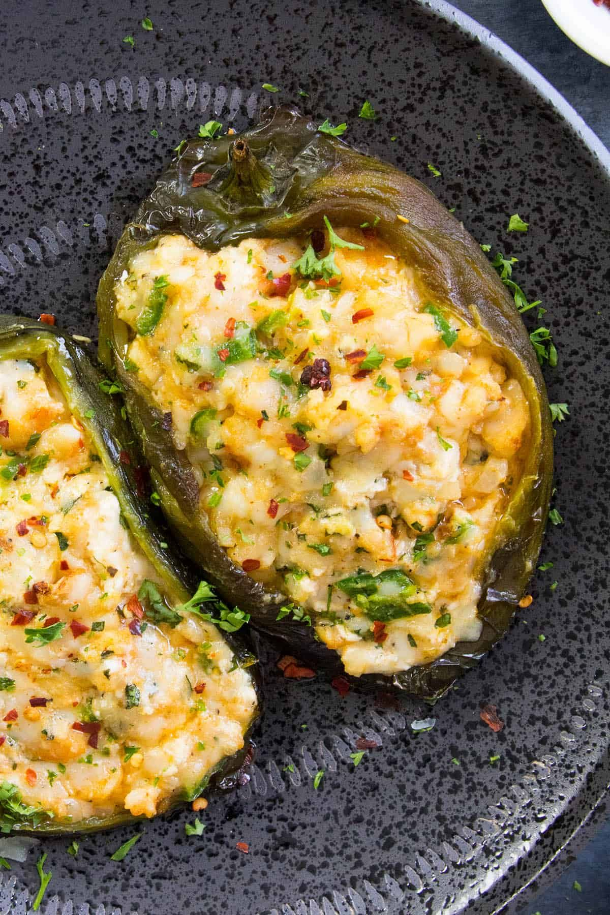 These Stuffed Poblano Peppers Are Nice And Cheese And Ready To Eat Stuffed Peppers Stuffed Poblano Peppers Veggie Dishes