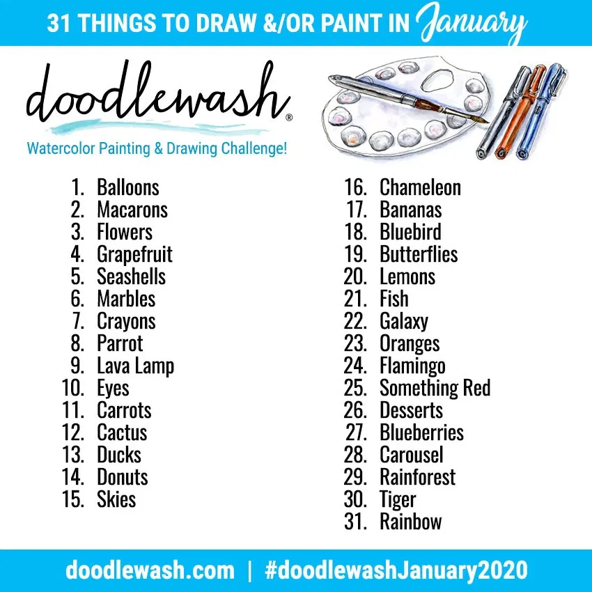Doodlewash® ~ JANUARY 2020 ART CHALLENGE: Colorful Things!