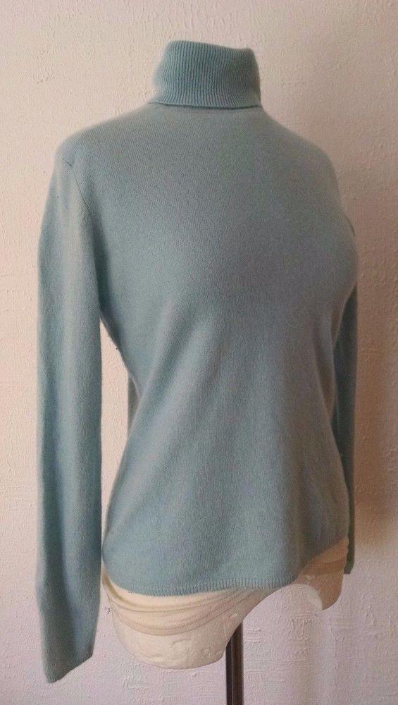 4ef63cbdd Charter Club 100% Cashmere Turtleneck Sweater M Light Baby Blue Long ...