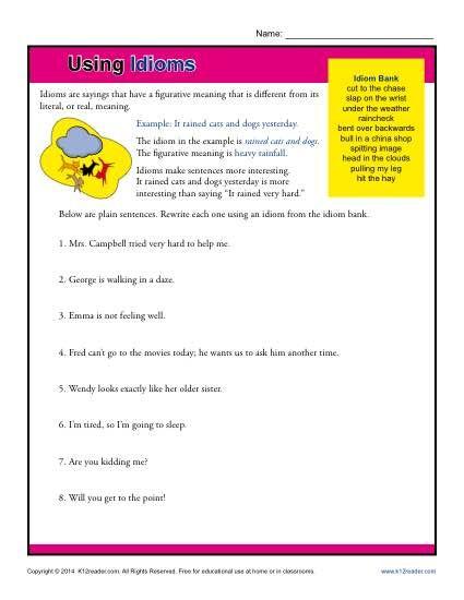 using idioms complete sentences worksheets and sentences. Black Bedroom Furniture Sets. Home Design Ideas