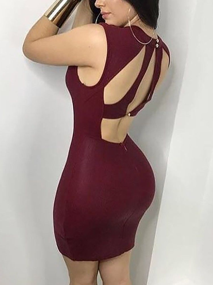 Chicme Spicy girl! Flat 50% off! Sexy Cut Out Back Bodycon Mini Dress 4b37adf98