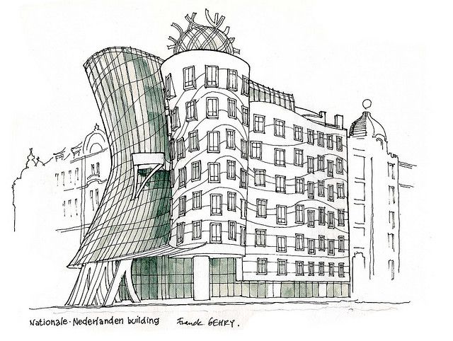 Prague 2001 frank gehry famous buildings frank gehry for Architecture house drawing