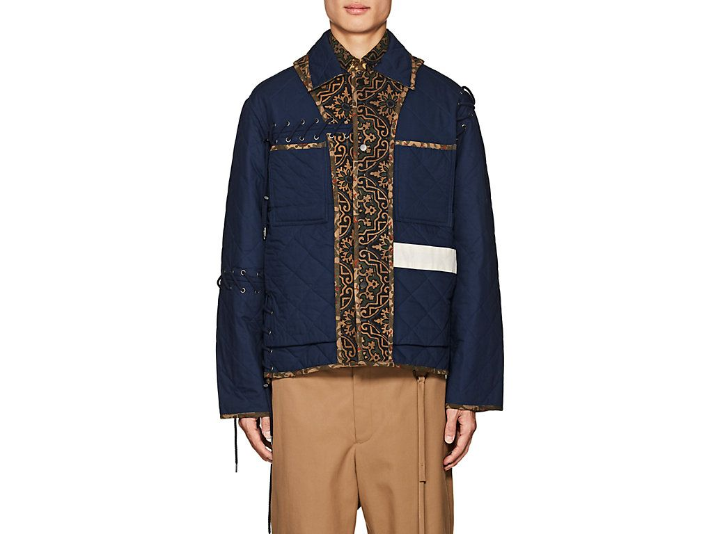 Quilted Contrast Panel Cotton Field Jacket In Navy Jackets Cotton Jacket Field Jacket