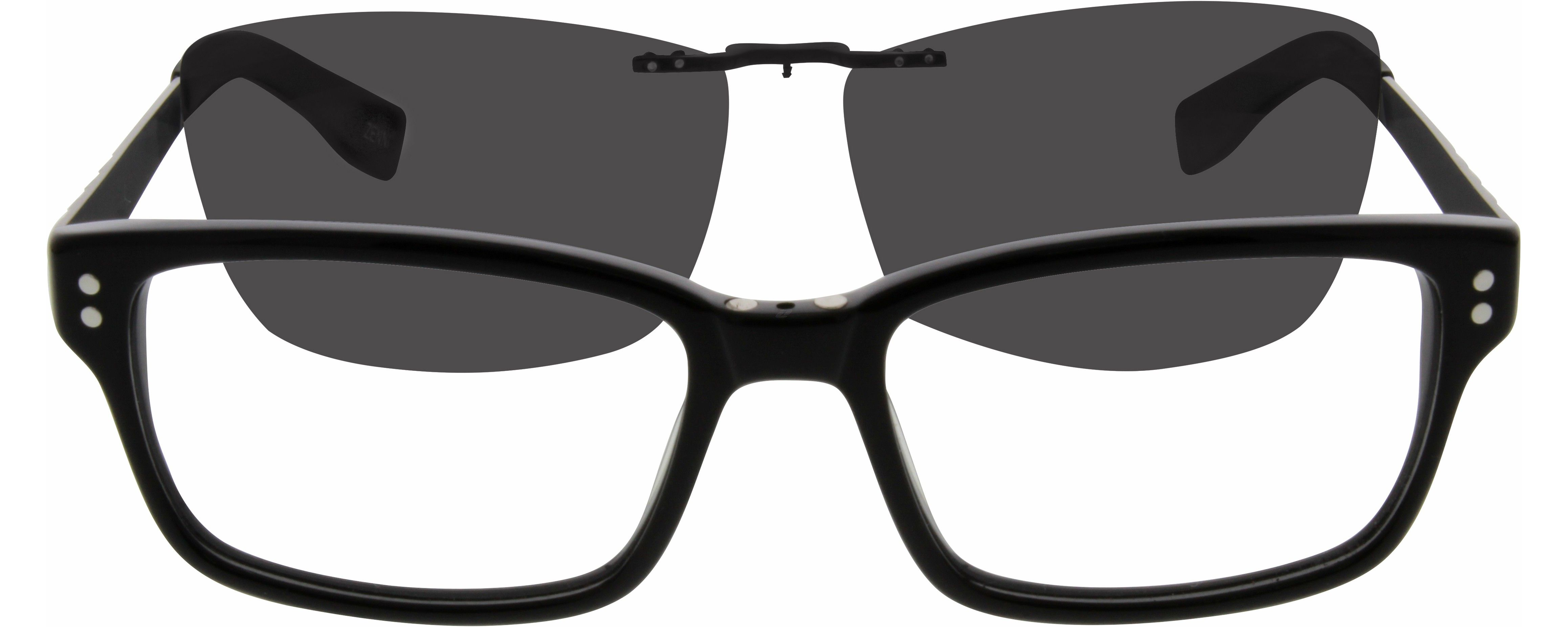 a175672e06 560221 Acetate Full-Rim Frame with Polarized Magnetic Snap-on Sunlens and  Designer Stainless Steel Temples