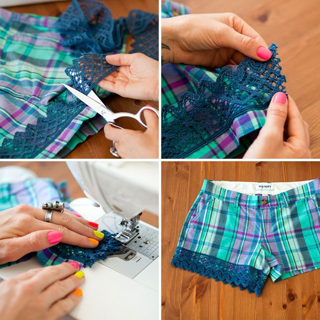 Who wears short shorts? We wear short shorts! But if your shorts are a little too short or on the plain side of things, here's a quick and easy way to add a little more length in a fun, flirty, and feminine way. All you need is lace, shorts, and a sewing machine!