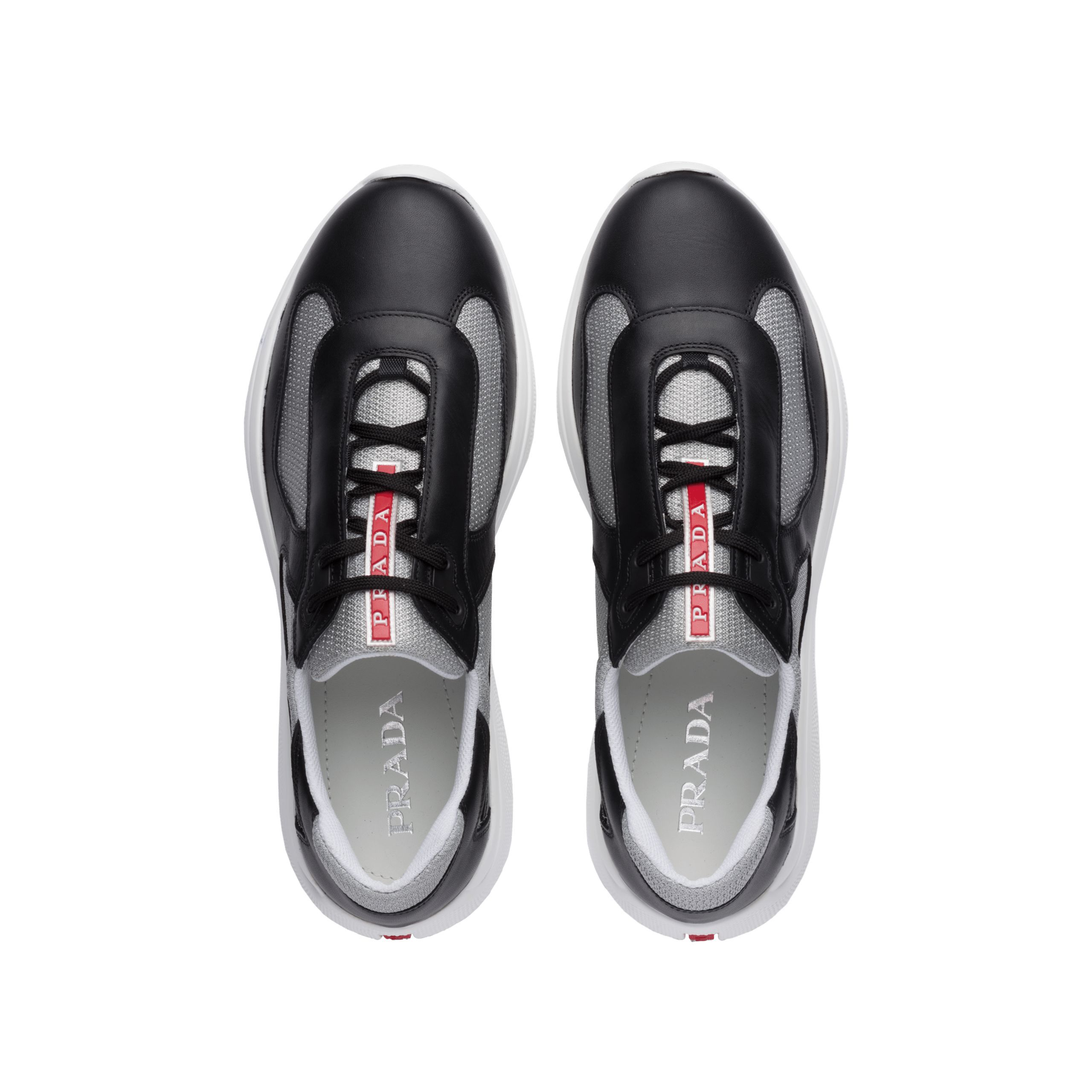 Leather and technical fabric sneakers