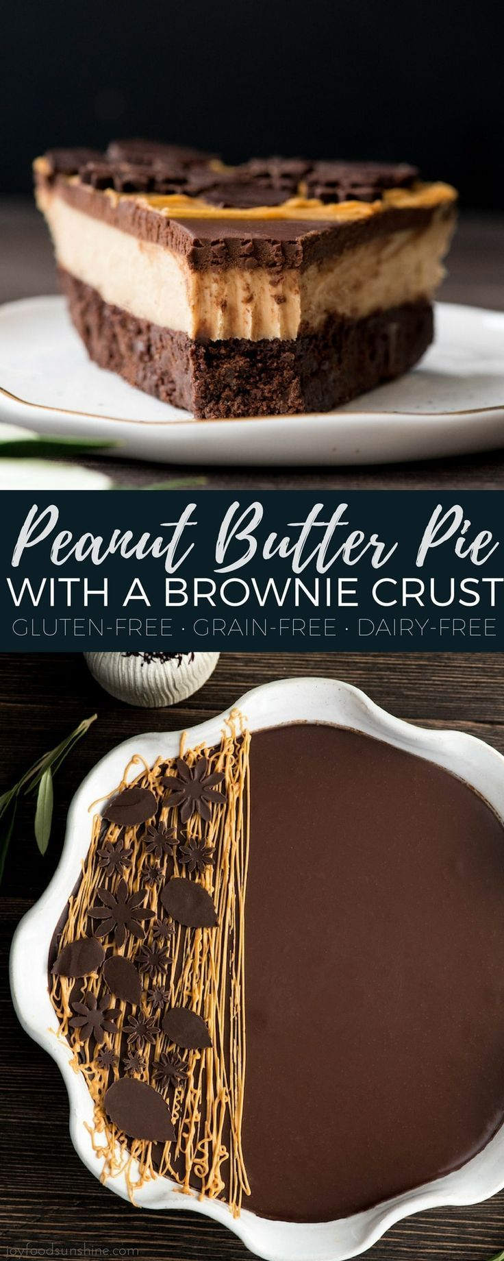 Peanut Butter Pie with a Brownie Crust is everything a dessert should be {and mo... -
