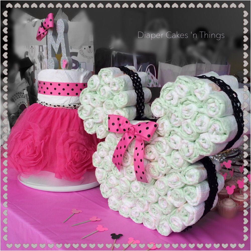 Minnie Mouse Diaper Cake, Minnie Mouse Head with Ribbon, Tutu Dress Diaper Cake, Baby Shower, First Birthday