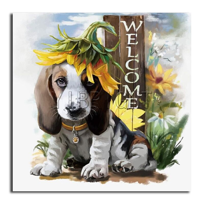 5D DIY Diamond Painting Cute Dog Embroidery Cross Crafts Stitch Kit Home Decor