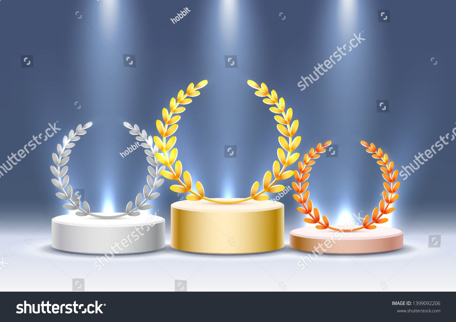 Stage podium with lighting Stage Podium Scene with for Award Ceremony on blue Background Vector illustration