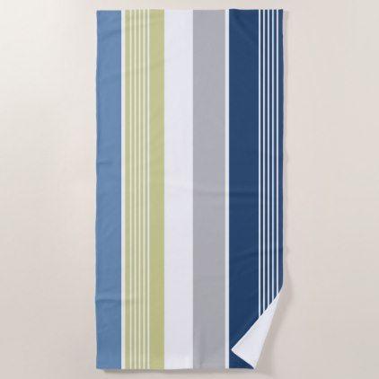 Seaside Blue White Stripes Beach Towel Zazzle Com Beach