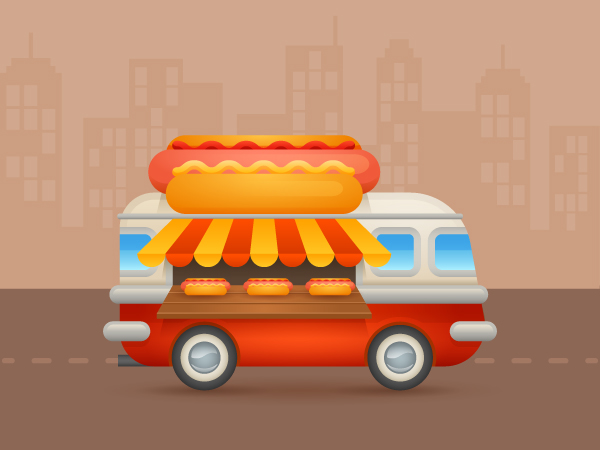 Create A Colorful Cartoon Hot Dog Van In Adobe Illustrator In 2020 Illustrator Tutorials Vintage Photoshop Actions Dog Illustration