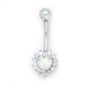 Solid 14k Yellow Gold Zirconia Opal Heart Belly Ring Body Candy