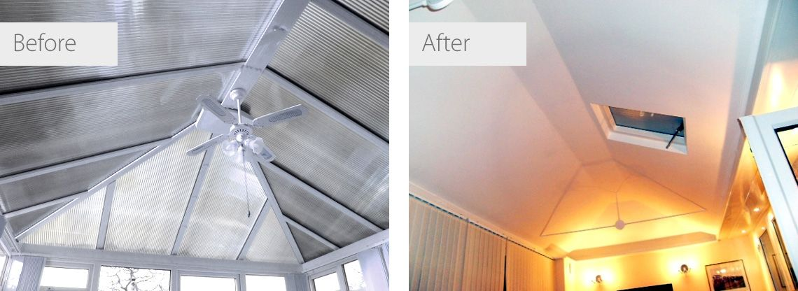 Insulated Conservatory Roof Before And After Images Conservatory Roof Conservatory Roof