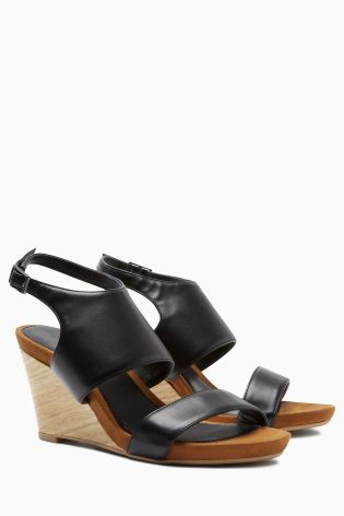 940f8e465 Buy Black Wood Look Wedge Sandals online today at Next  Israel ...