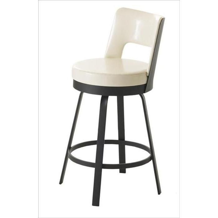 Cream and Black Metal Counter Stool