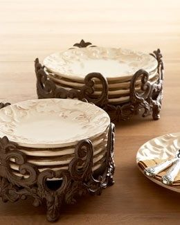 Dinnerware Holders Ornate cast-aluminum dinnerware stands add glamour to the buffet table while keeping the dinner and salad plates protected and organized. & GG Collection Acanthus 8