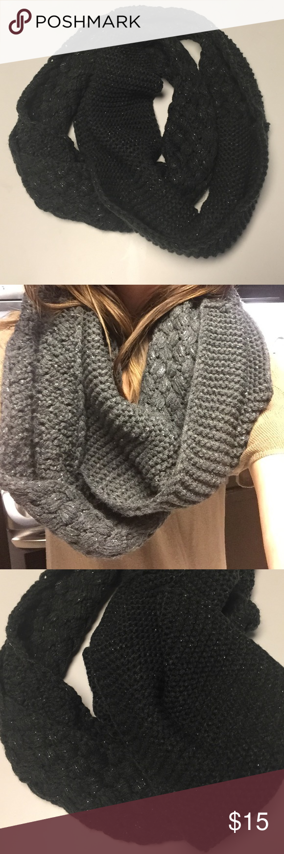 Charcoal grey Infiniti scarf Bought from Target. Good condition. About 8inches thick. Accessories Scarves & Wraps