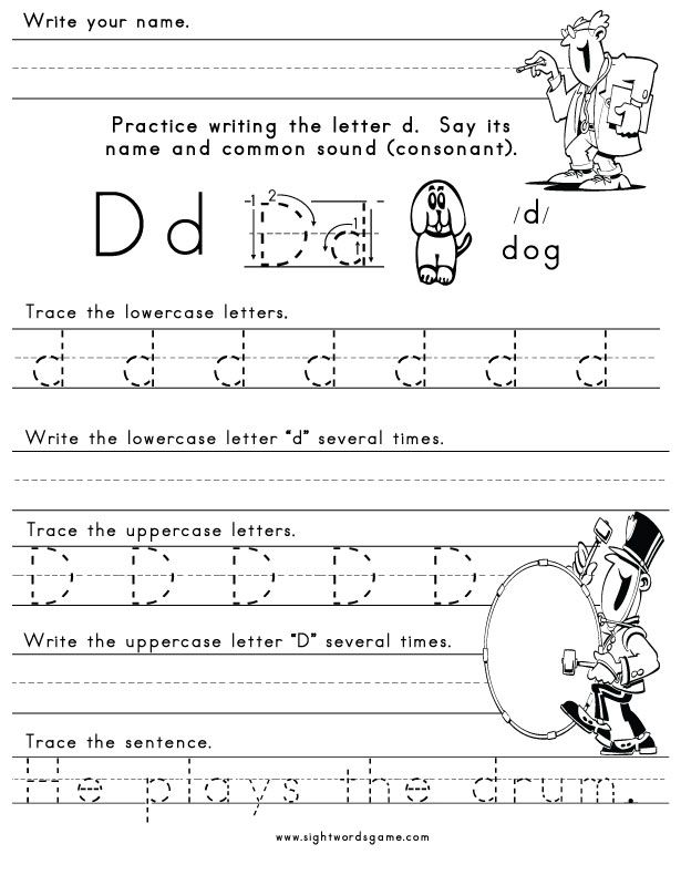 Small Letters D Learn to Write Letters worksheets for kids – Letter D Worksheets for Kindergarten