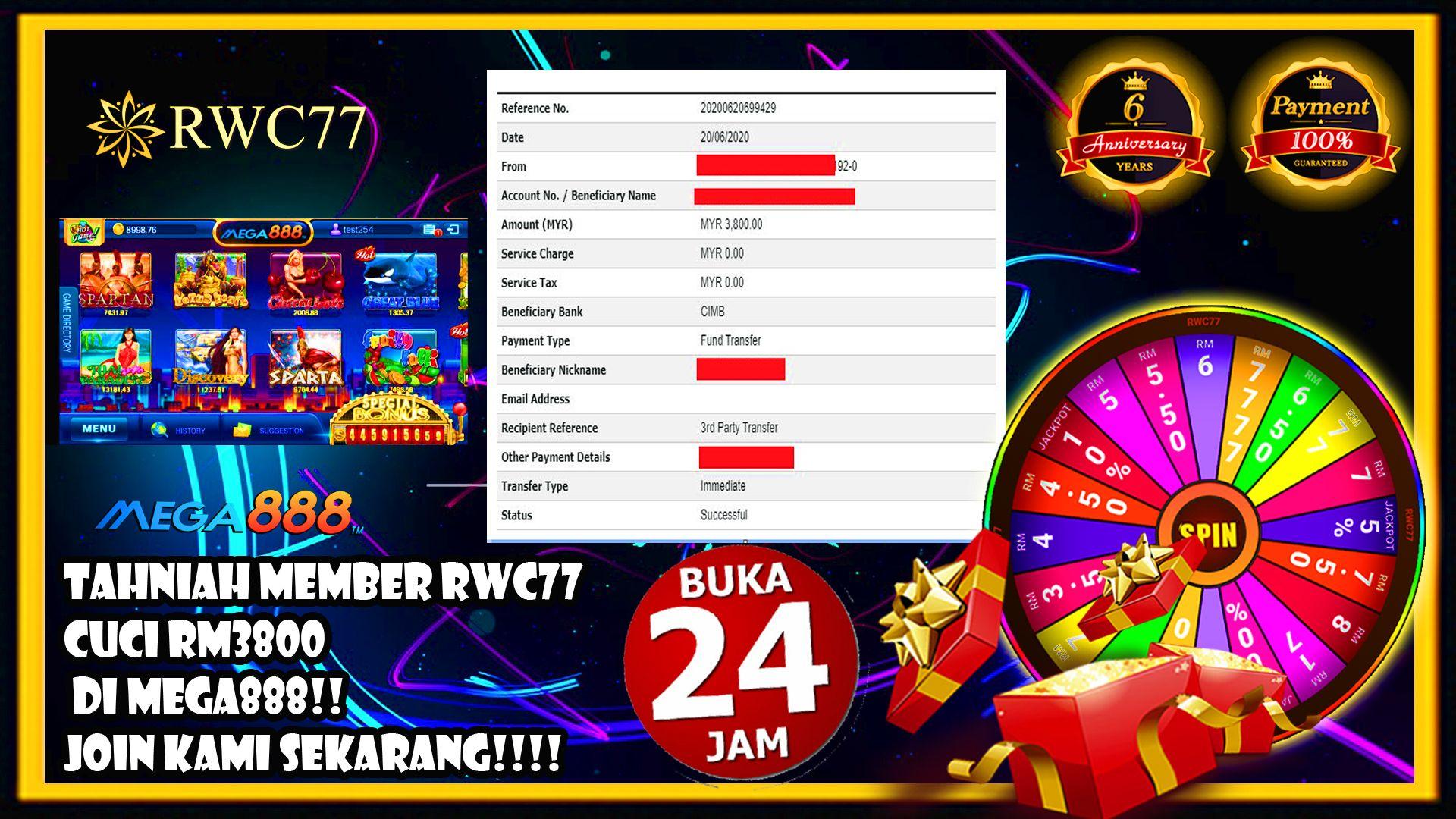 Tahniah Member Cuci RM 3800 dalam MEGA 888 !!! JOIN US NOW !!!
