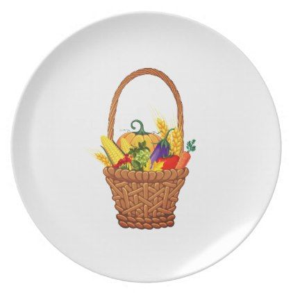 Plastic Plate-Harvest Basket Dinner Plate - thanksgiving day family holiday decor design idea  sc 1 st  Pinterest & Plastic Plate-Harvest Basket Dinner Plate | Pinterest | Plastic plates