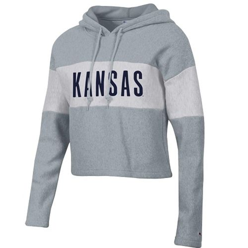 c3d857d18 Kansas Women's Reverse Weave Crop Hoodie . . . . . Screen print lettering  Champion 80