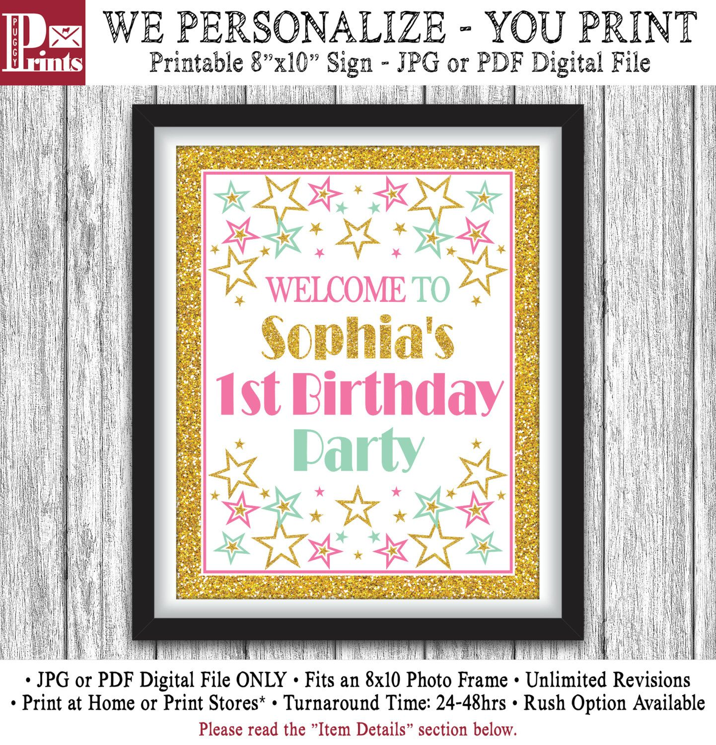 Twinkle Twinkle Little Star Party Sign Printable Birthday Party