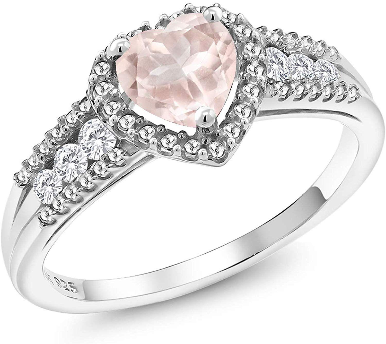 Gem Stone King 0.96 Ct Rose Rose Quartz White Created Sapphire 925 Sterling Silver Ring