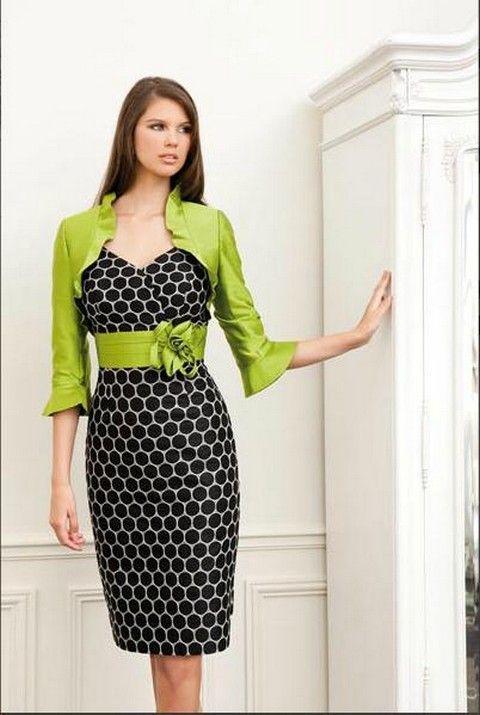 Čierno-biele púzdrové spoločenské šaty so zeleným bolerkom S21 - Svadobný  salón Valery d0fef275d83