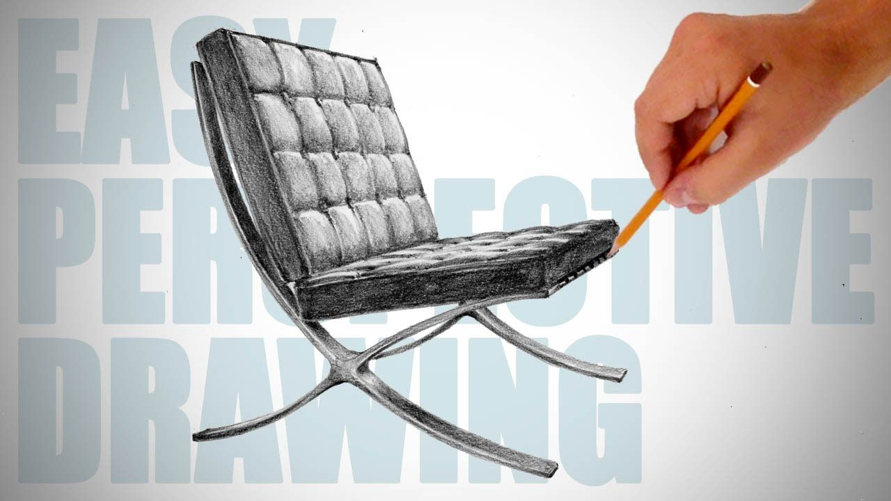 How To Draw Barcelona Chair Easy Perspective Drawing 16
