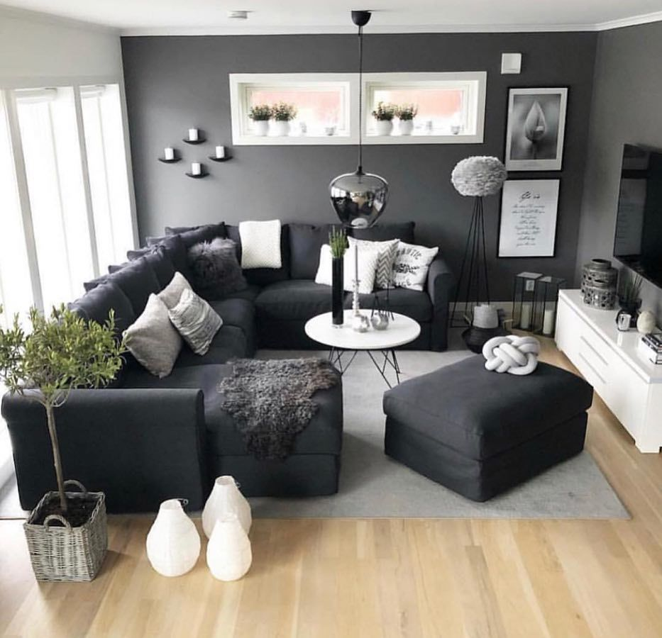 "Living Room Decor on Instagram: ""Dark colors on point"