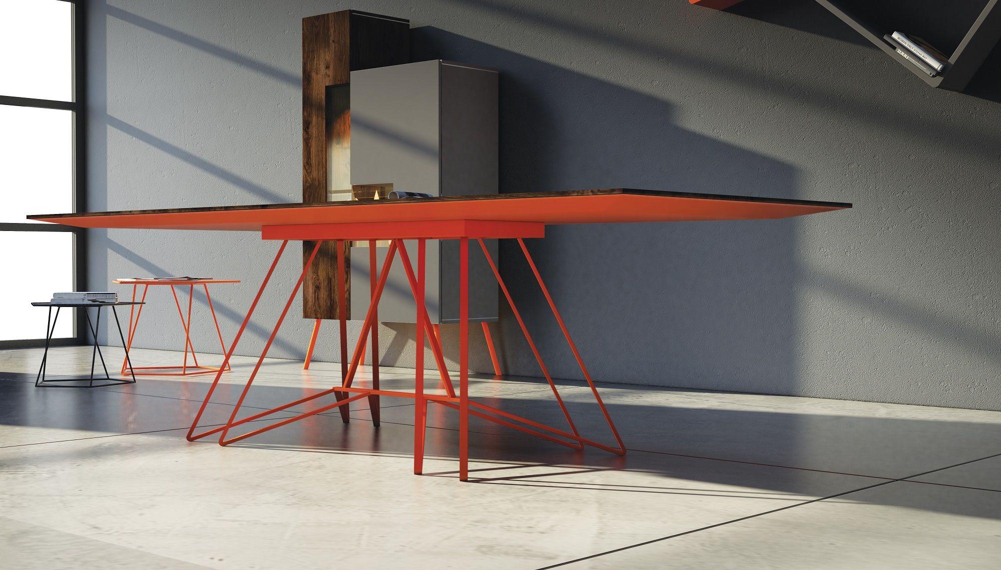 Tavolo Flat ~ Tavolo design contemporaneo flat cm 250x100 struttura arancio