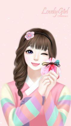 Cute Korean Anime Girl Wallpaper Pesquisa Google