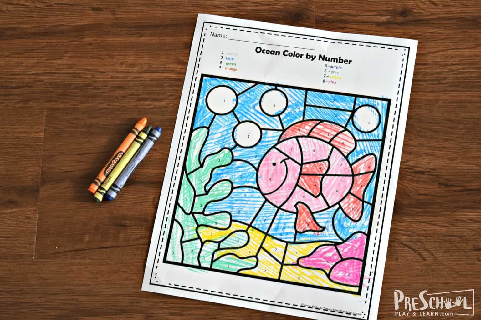Ssuper Cute Free Ocean Color By Number Worksheets Are A