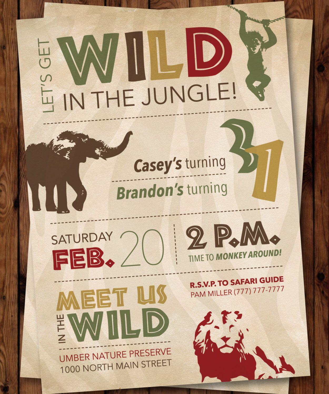 Jungle Invitation/Wild Birthday Invitation/Safari Invitation/Jungle ...