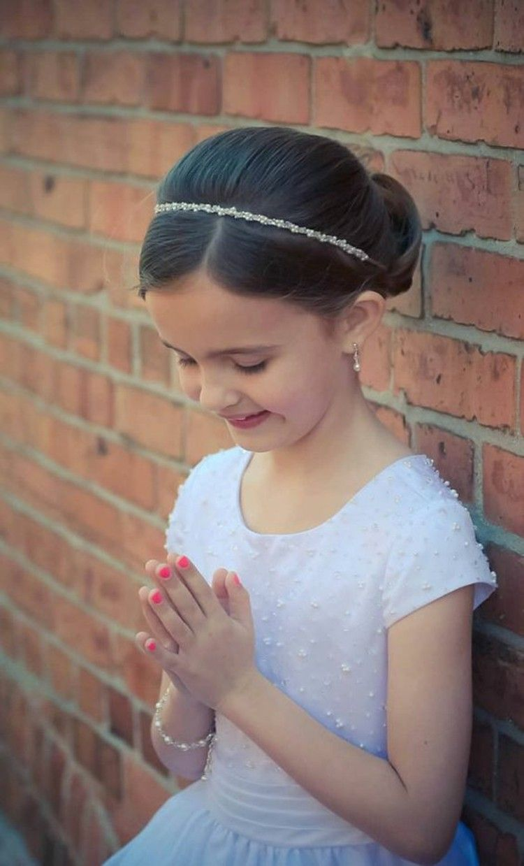 Communion hairstyle girls plug hairstyle with tiara ...