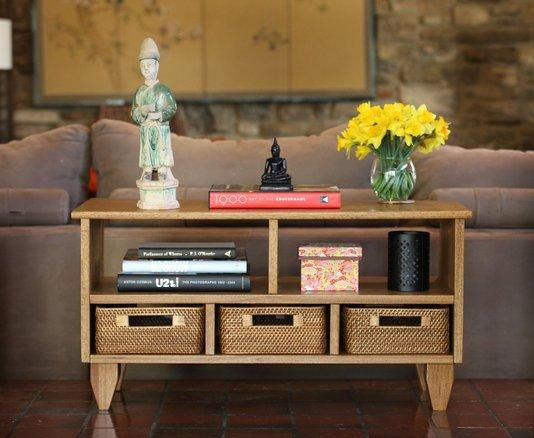 Cool Console Table With Shelving And Storage Cubbies