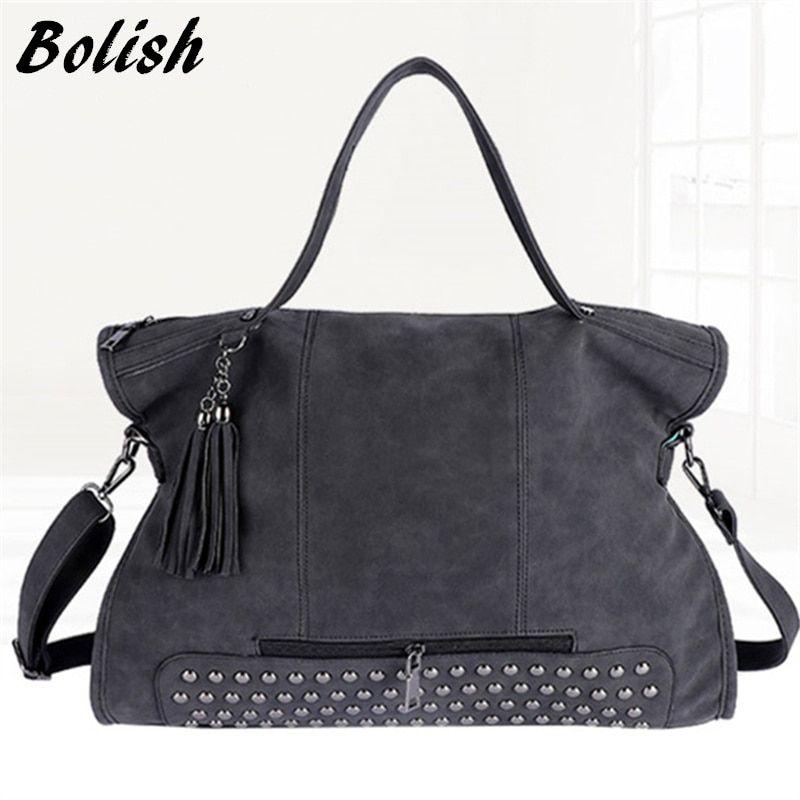 Bolish Rivet Vintage PU Leather Female Handbag Fashion Tassel Messenger Bag  Women Shoulder Bag Larger Top 120313868a