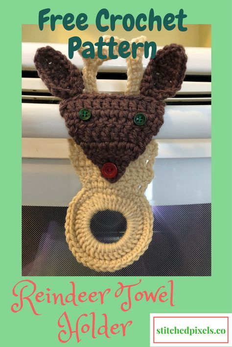 Use This Free Crochet Pattern To Make Your Own Reindeer Towel Holder