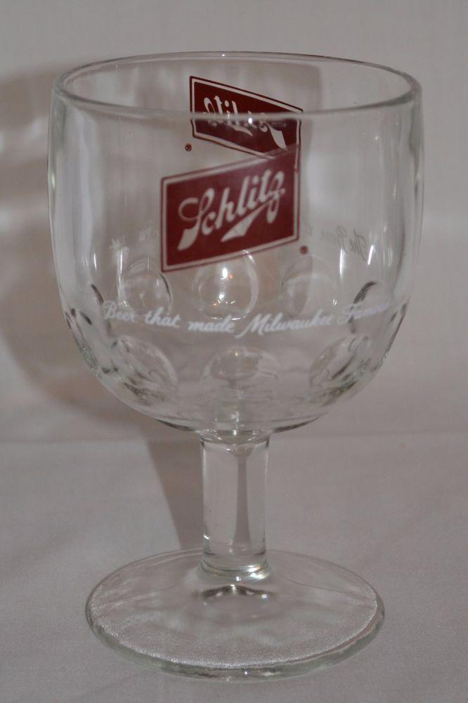 Vintage Schlitz Beer Thumbprint Glass Goblet Schooner Mug - Milwaukee Famous #Schlitz