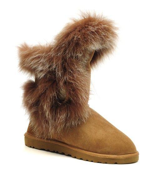 Chestnut 5531 Jimmy Choo Womens Fox Fur Ugg Snow Boots Outlet [5531 Ugg  Chestnut]