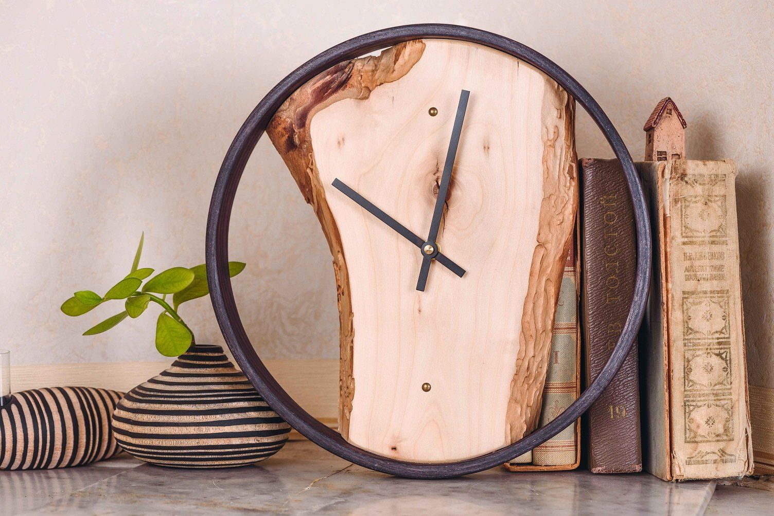 Wooden round wall clock in house and home pinterest clock