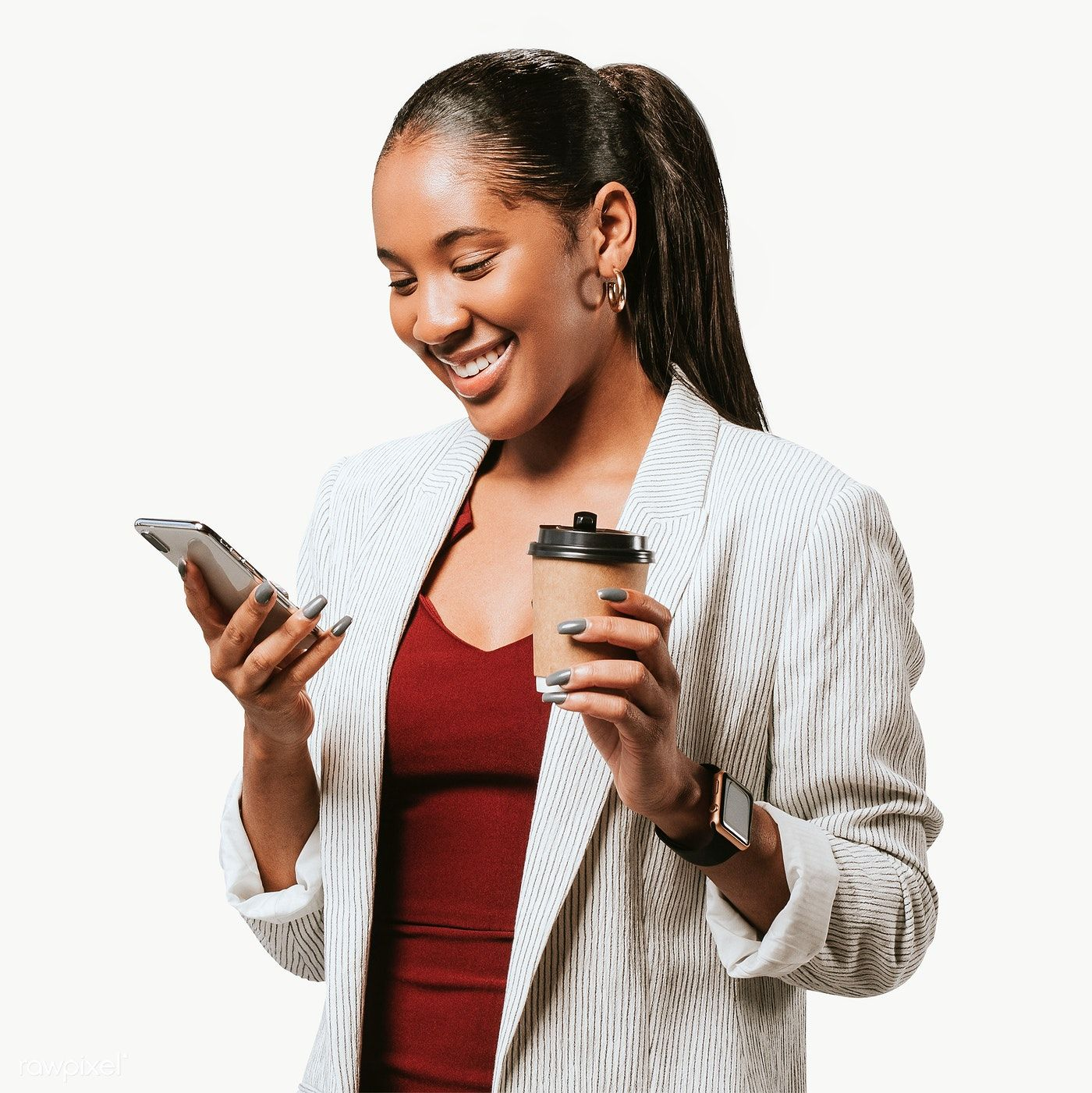 Happy Woman In A Blazer With A Phone Transparent Png Free Image By Rawpixel Com Felix Happy Women African American Women Fashion Women Talk