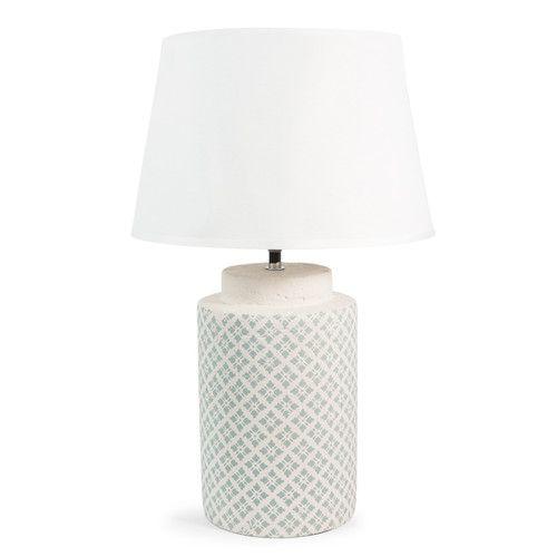 Lampe gueliz aus keramik und wei baumwolle h 47 cm for Maison du monde lampe