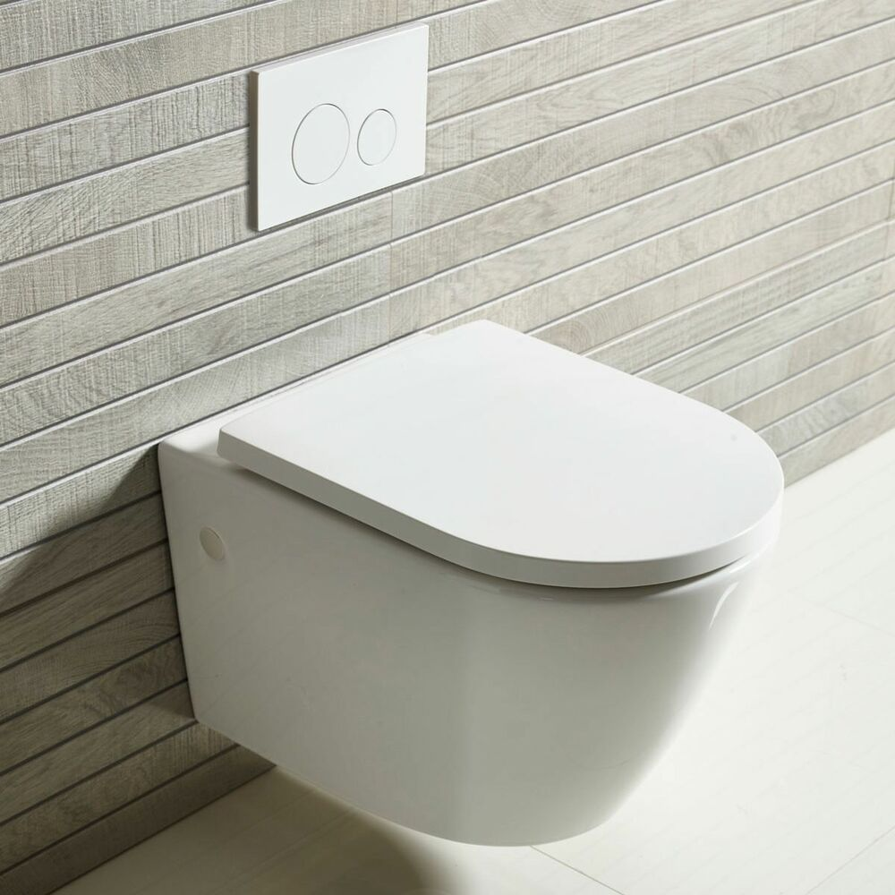 Btw Wall Hung Round Modern Toilet Pan White Ceramic Soft Close