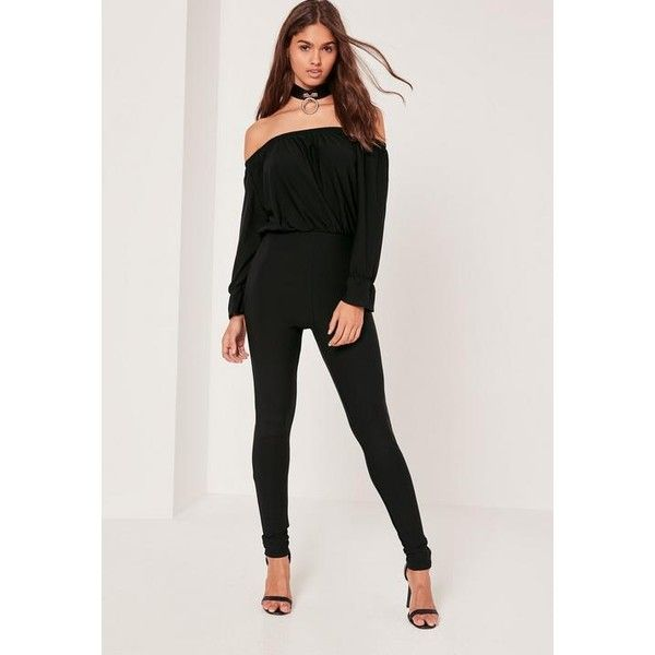 discount collection online sale beautiful and charming Missguided Crepe bardot long sleeve jumpsuit ($45) ❤ liked ...